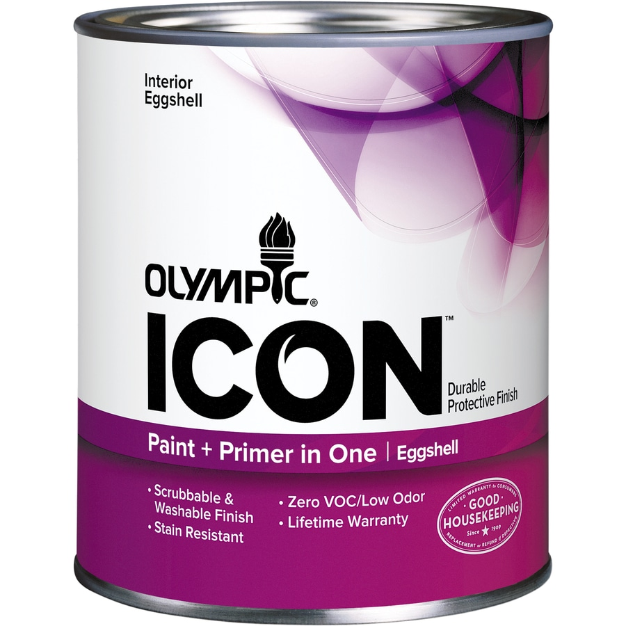 Olympic Icon Quart Size Container Interior Eggshell Tintable White Latex-Base Paint and Primer in One (Actual Net Contents: 29-fl oz)