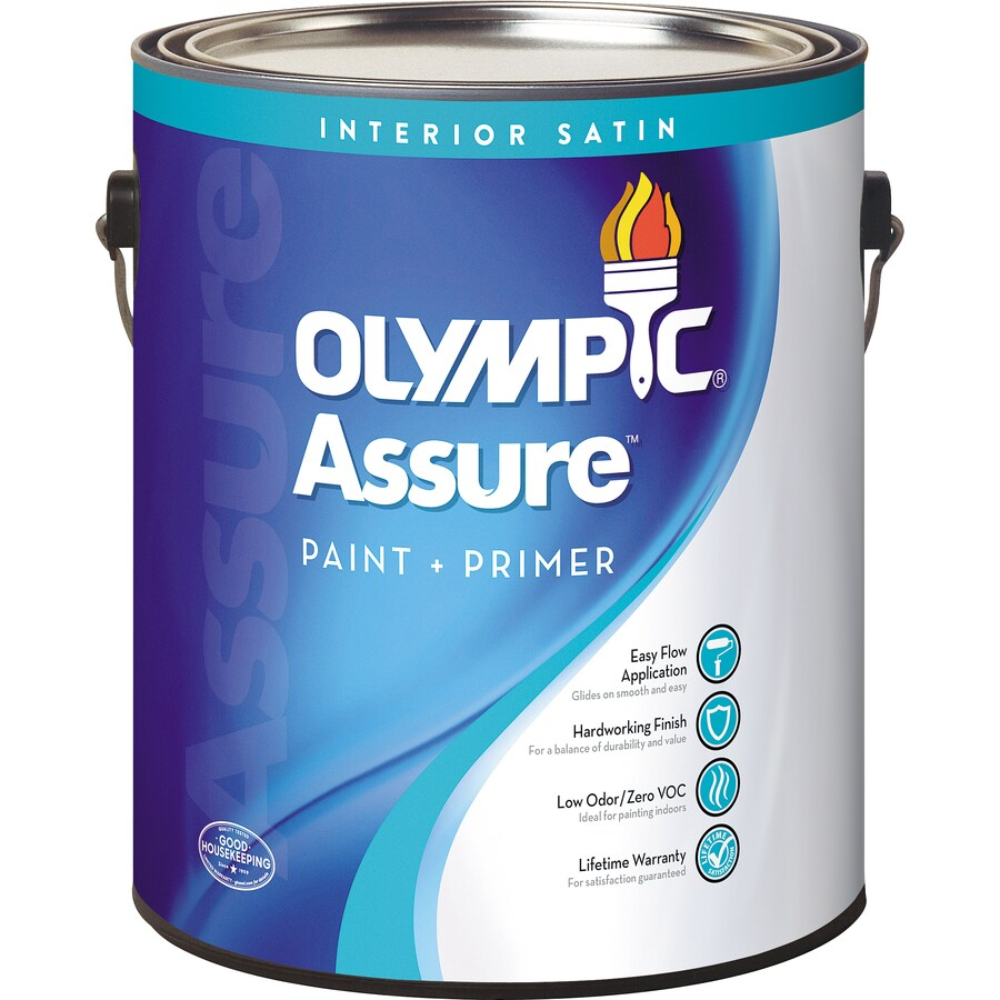 Olympic White Satin Latex Interior Paint and Primer in One (Actual Net Contents: 114-fl oz)