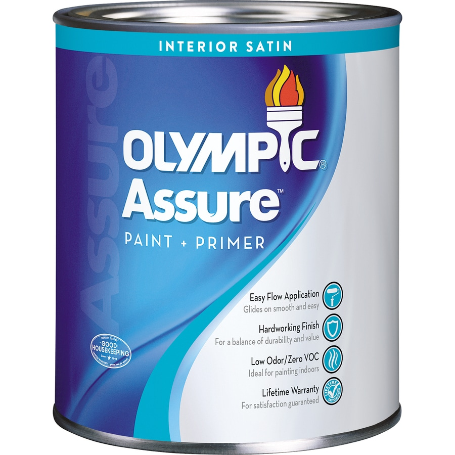Olympic White Satin Latex Interior Paint and Primer in One (Actual Net Contents: 28.5-fl oz)
