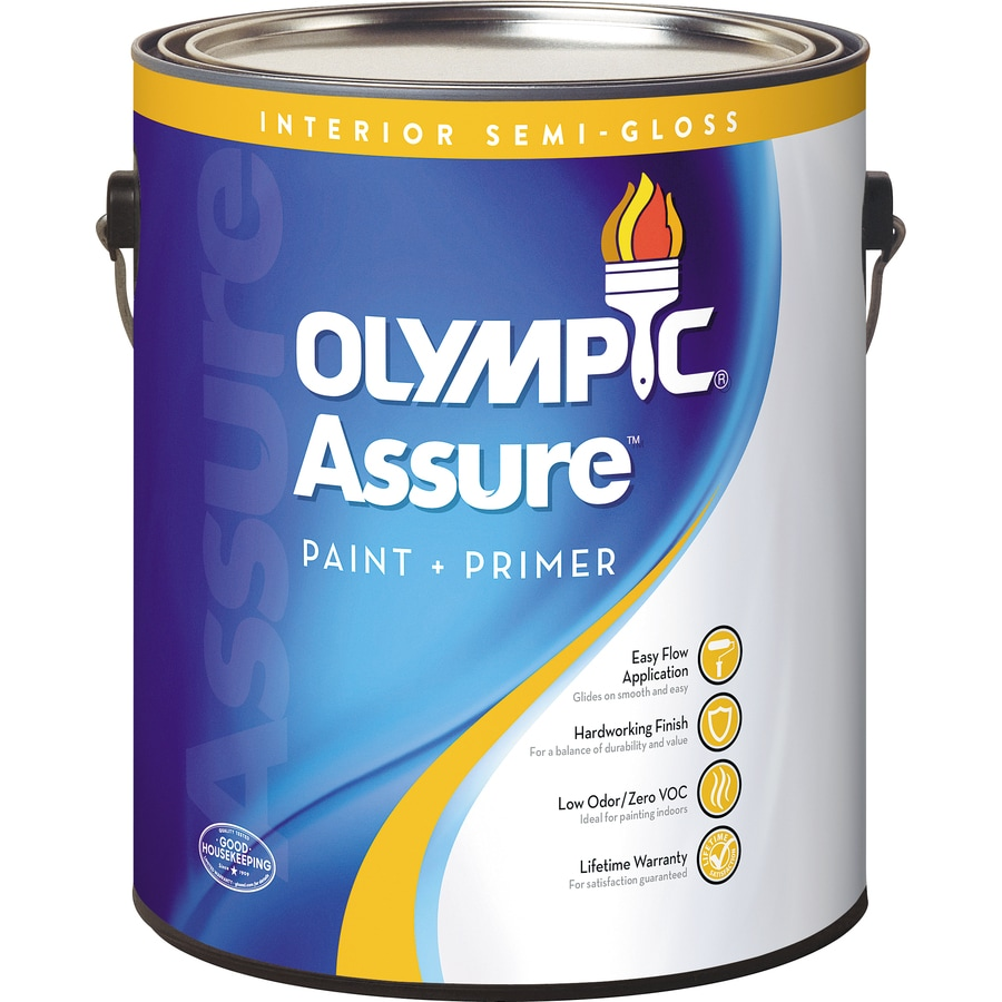 Olympic White Semi-Gloss Latex Interior Paint and Primer in One (Actual Net Contents: 114-fl oz)