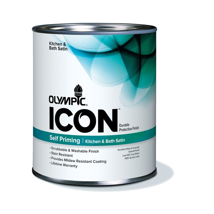 Olympic Quart Size Container Interior Satin Kitchen and Bath Tintable White Latex-Base Paint (Actual Net Contents: 31-fl oz)