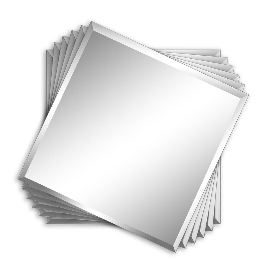 Style Selections 12-in x 12-in Silver Beveled Square Frameless Traditional Wall Mirror