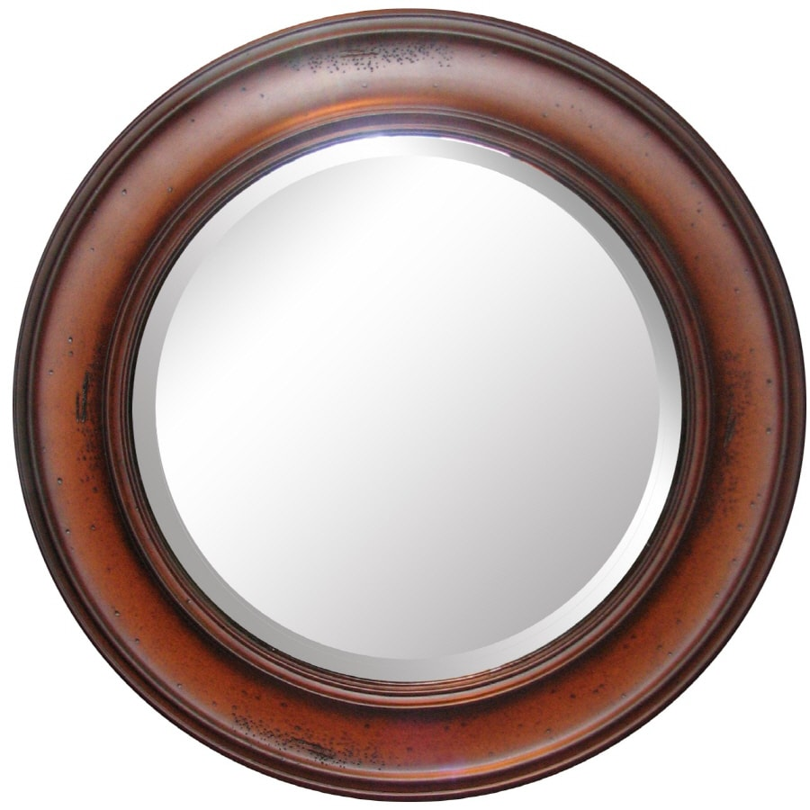 allen + roth Warm Distressed Chestnut Round Framed Wall Mirror