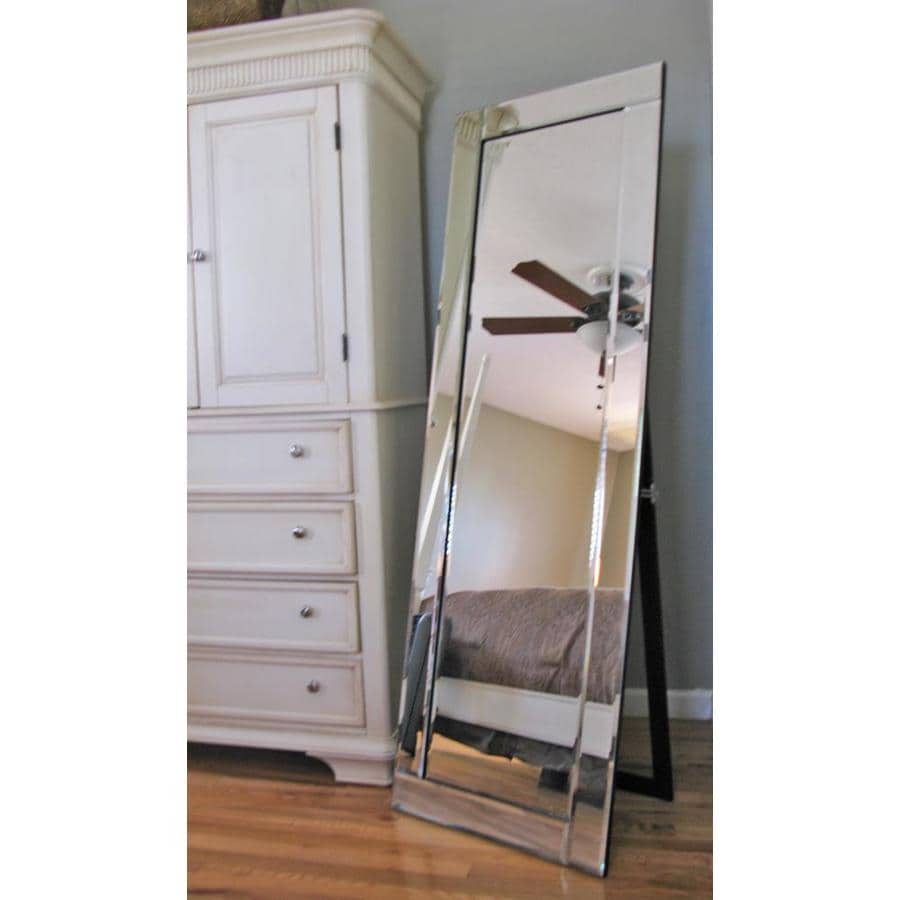 Shop allen roth 22 in x 66 in silver beveled rectangle for Rectangle mirror