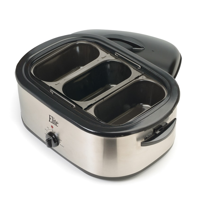 Elite Platinum 18-Quart Stainless Steel Rectangle Ceramic Roaster Oven with Metal Lid