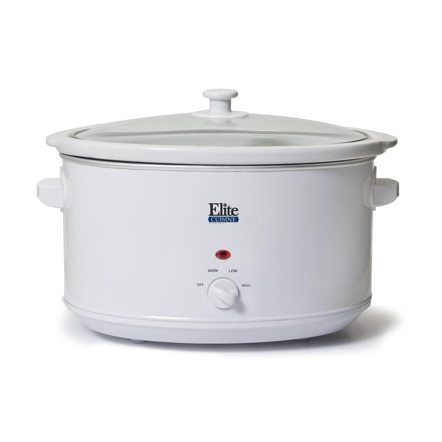Elite Cuisine 8.5-Quart White Oval 1-Vessel Slow Cooker