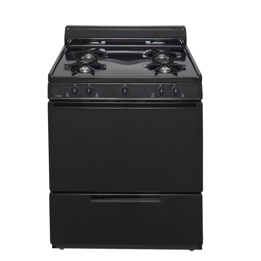 Premier 4-Burner Freestanding 3.9-cu ft Gas Range (Black) (Common: 30-in; Actual: 30-in)
