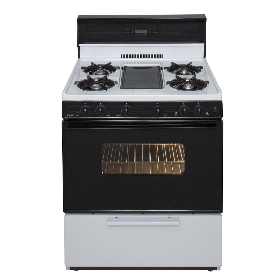Premier 5-Burner Freestanding 3.9-cu ft Gas Range (White with Black Trim) (Common: 30-in; Actual: 30-in)