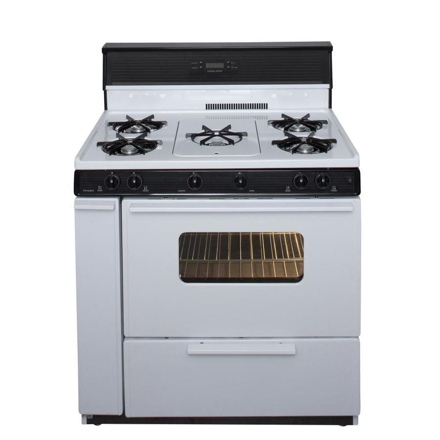 Premier 5-Burner Freestanding 3.9-cu ft Gas Range (White with Black Trim) (Common: 36-in; Actual: 36-in)