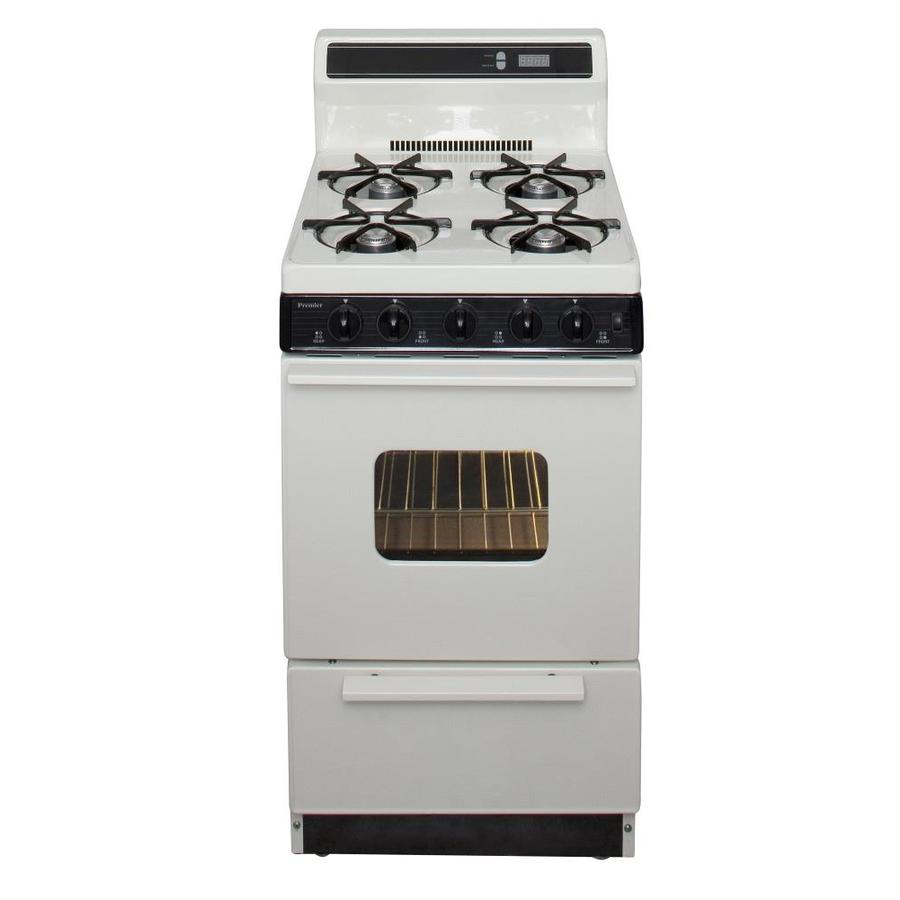 Premier 4-Burner Freestanding 2.4-cu ft Gas Range (Biscuit with Black Trim) (Common: 20-in; Actual: 20.125-in)