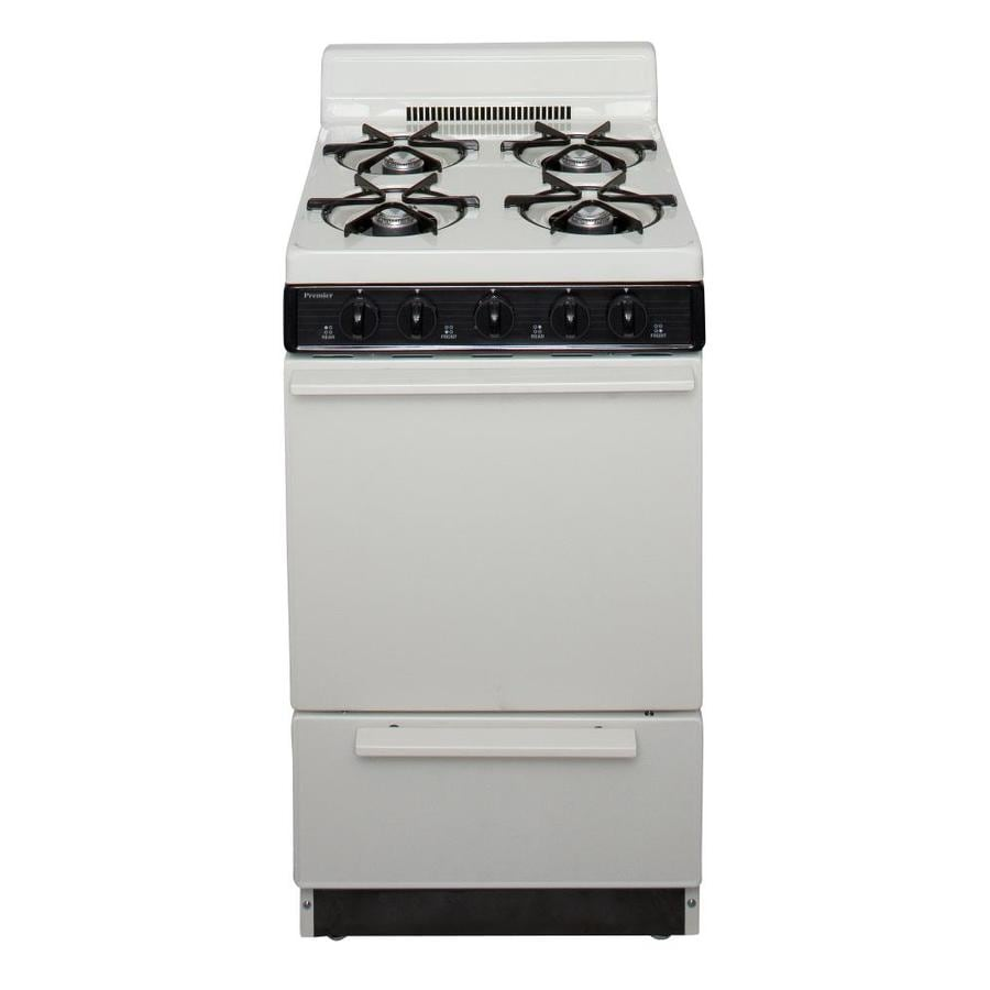 Premier 4-Burner Freestanding 2.4-cu ft Gas Range (Biscuit with Black Trim) (Common: 20-in; Actual: 20.125-in)