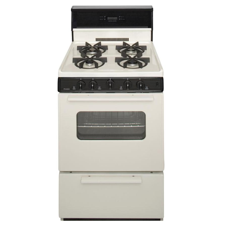 Premier 4-Burner Freestanding 2.9-cu ft Gas Range (Biscuit with Black Trim) (Common: 24-in; Actual: 24-in)