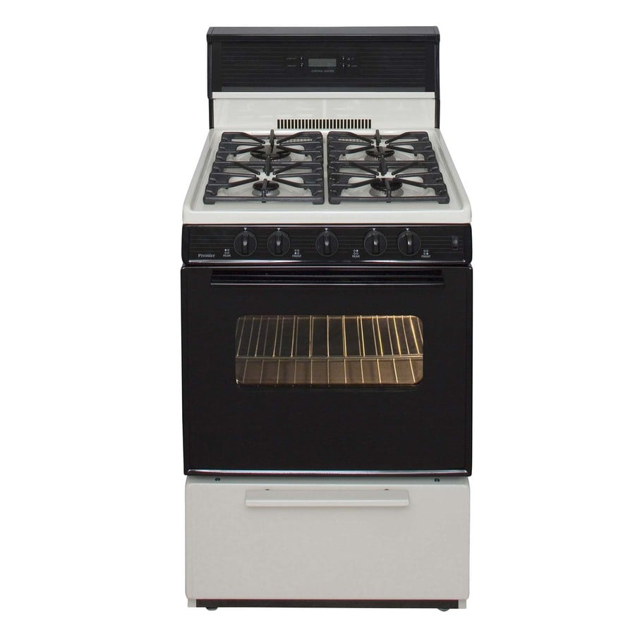 Premier 4-Burner Freestanding 2.9-cu ft Gas Range (Biscuit with Black Trim) (Common: 24-in; Actual: 24-in)