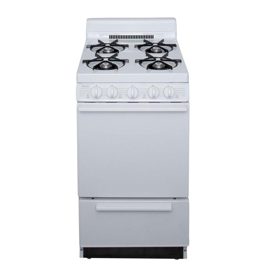 Premier 4-Burner Freestanding 2.4-cu ft Gas Range (White) (Common: 20-in; Actual: 20.125-in)