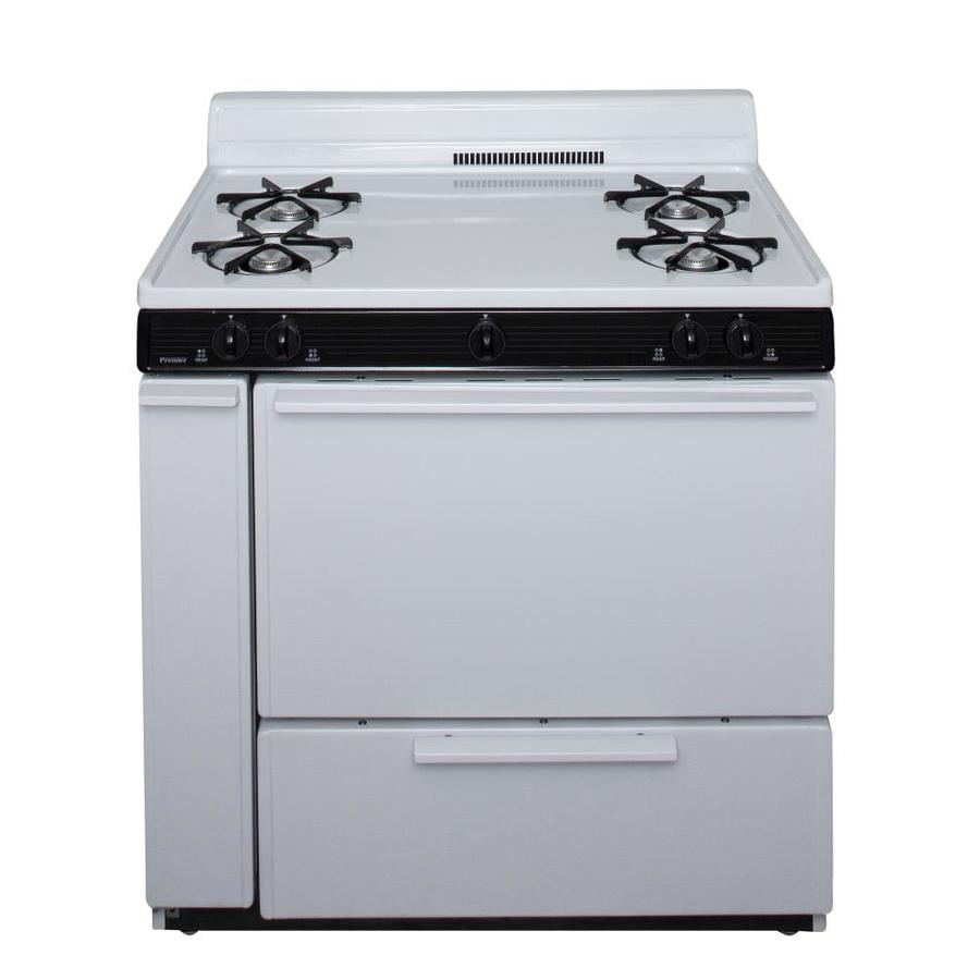 Premier 4-Burner Freestanding 3.9-cu ft Gas Range (White) (Common: 36-in; Actual: 36-in)