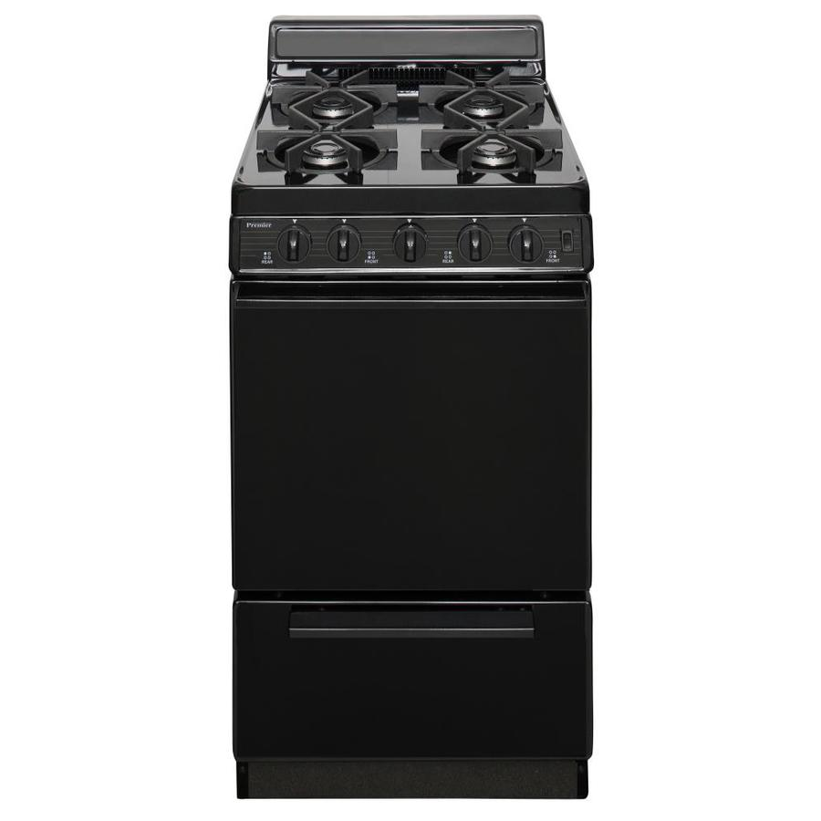 Premier 4-Burner Freestanding 2.4-cu ft Gas Range (Black) (Common: 20-in; Actual: 20.125-in)