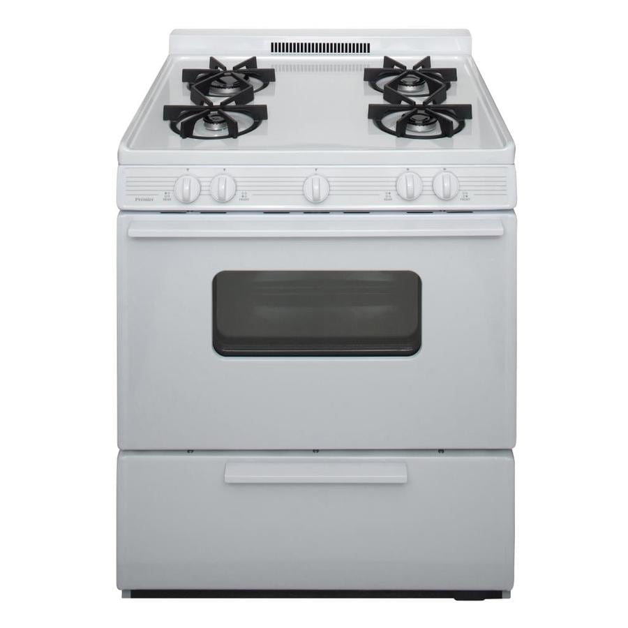 Premier 4-Burner Freestanding 3.9-cu ft Gas Range (White) (Common: 30-in; Actual: 30-in)