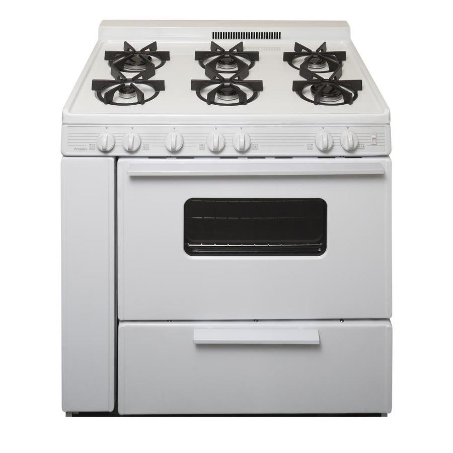 Premier 6-Burner Freestanding 3.9-cu ft Gas Range (White) (Common: 36-in; Actual: 36-in)