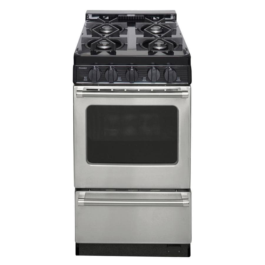 Premier 4-Burner Freestanding 2.4-cu ft Gas Range (Stainless) (Common: 20-in; Actual: 20.125-in)