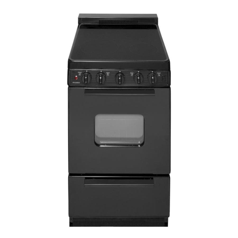Premier Smooth Surface Freestanding 2.4-cu ft Electric Range (Black On Black) (Common: 20-in; Actual: 20.125-in)