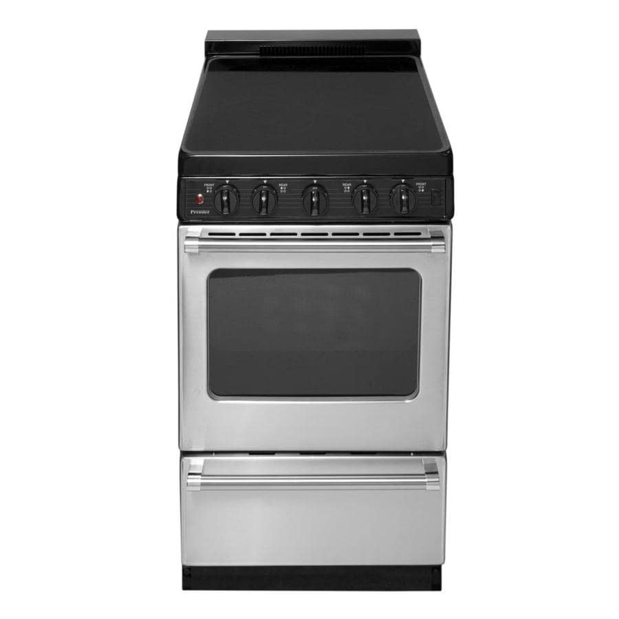 Premier Smooth Surface Freestanding 2.4-cu ft Electric Range (Stainless with Black Trim) (Common: 20-in; Actual: 20.125-in)
