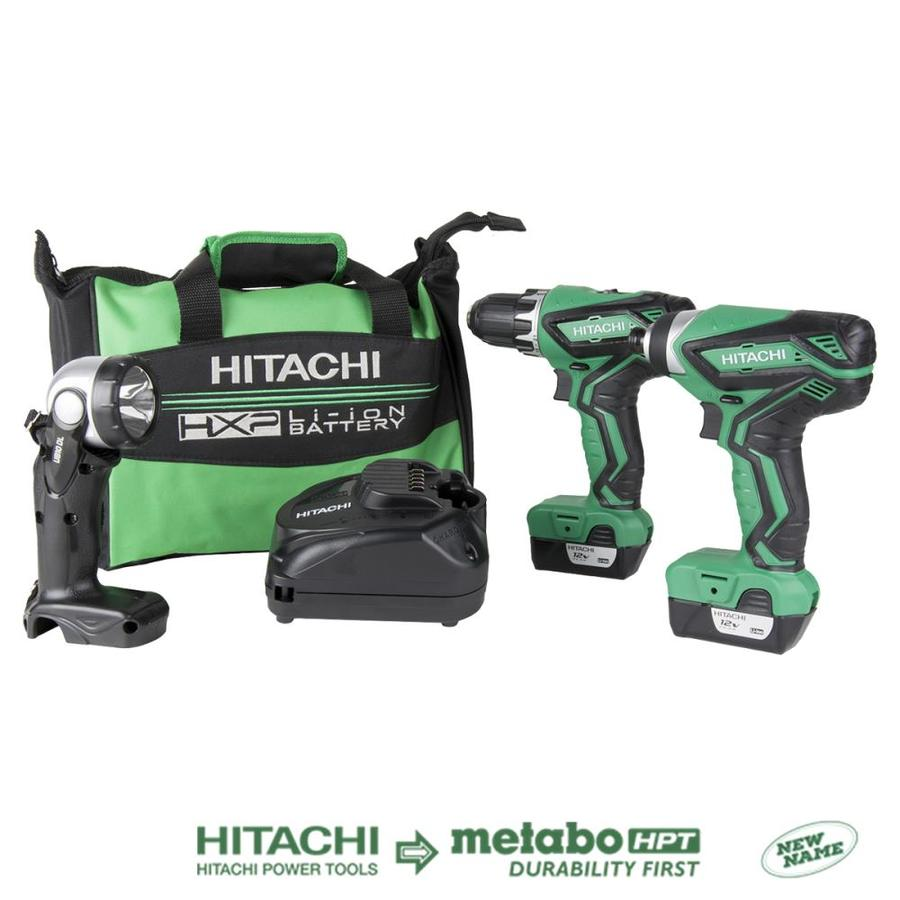 Hitachi 3-Tool 12-Volt Max Lithium Ion (Li-Ion) Cordless Combo Kit with Soft Case