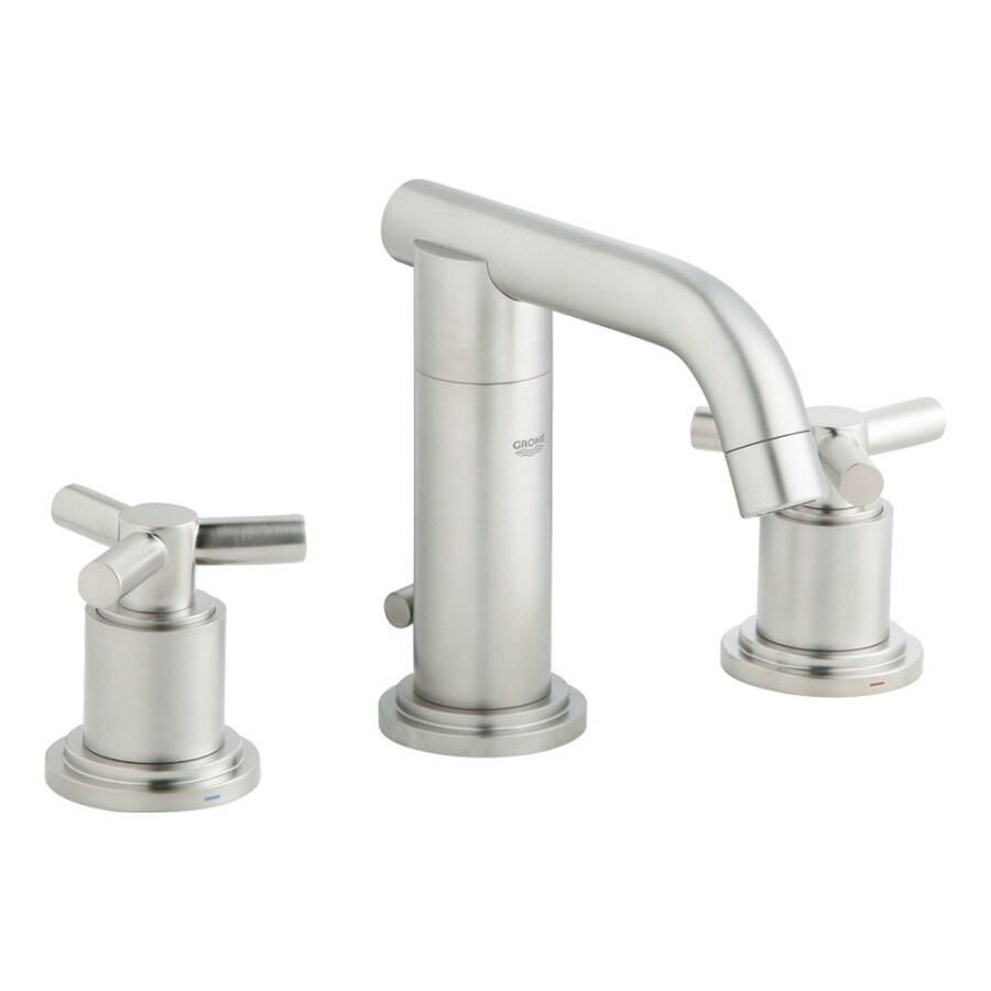 GROHE Atrio Brushed Nickel 2-Handle Widespread WaterSense Bathroom Faucet (Drain Included)