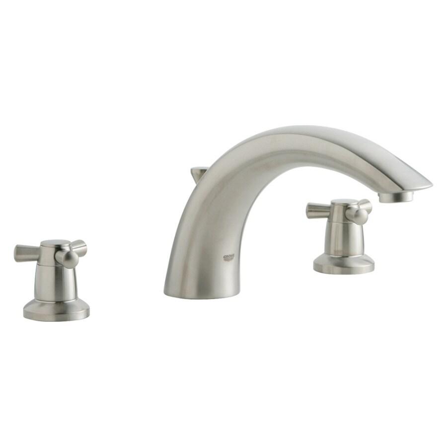 GROHE Arden Brushed Nickel 2-Handle Adjustable Deck Mount Tub Faucet