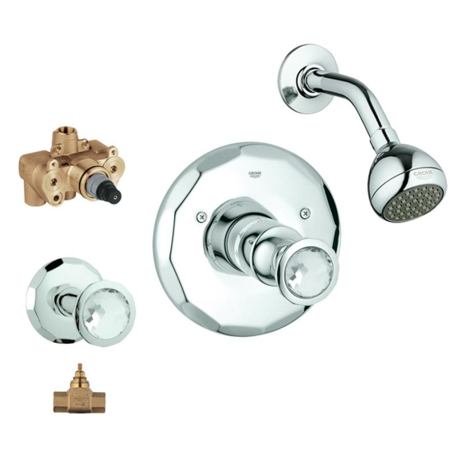 GROHE Kensington Starlight Chrome/Swarovski Crystal 2-Handle Shower Faucet with Single Function Showerhead