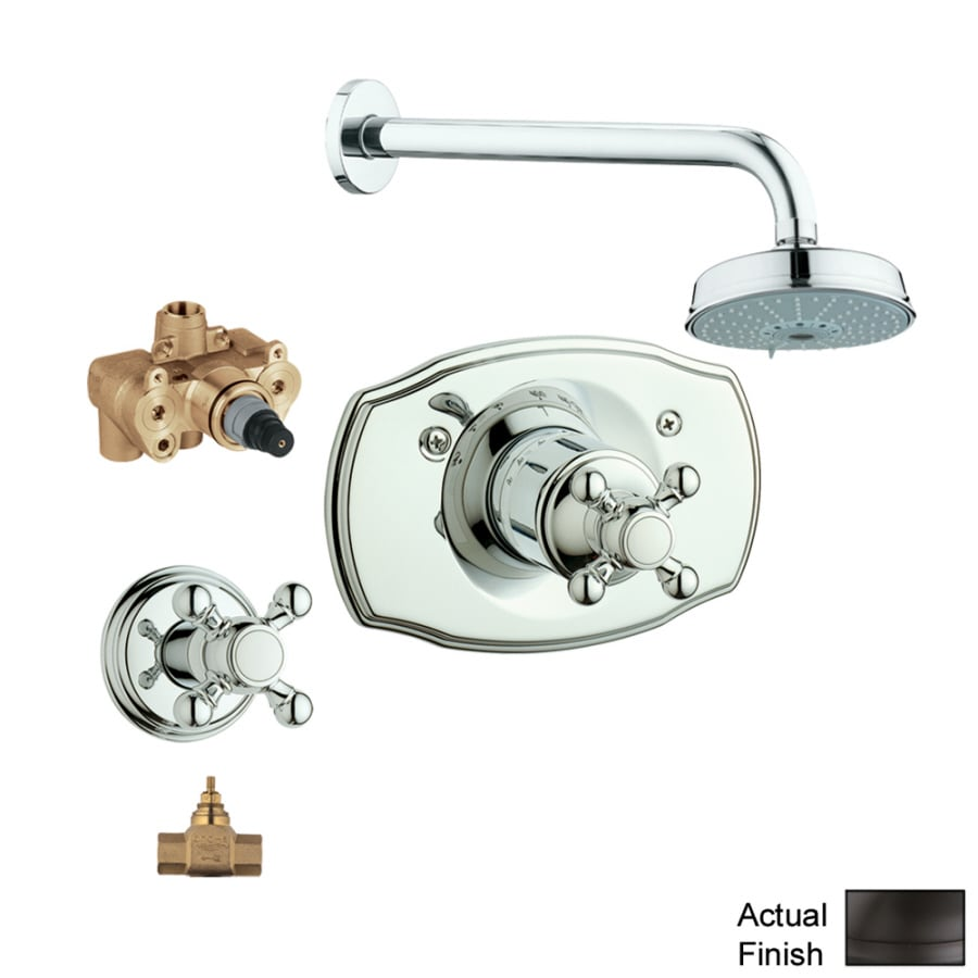 GROHE Geneva Oil-Rubbed Bronze 1-Handle Shower Faucet with Multi-Function Showerhead
