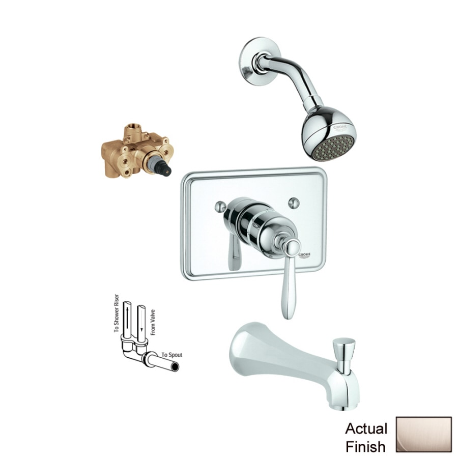 GROHE Somerset Brushed Nickel 1-Handle Bathtub and Shower Faucet with Single Function Showerhead