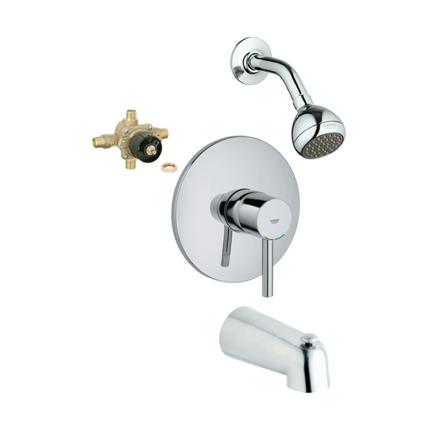 GROHE Essence Starlight Chrome 1-Handle Bathtub and Shower Faucet with Single Function Showerhead