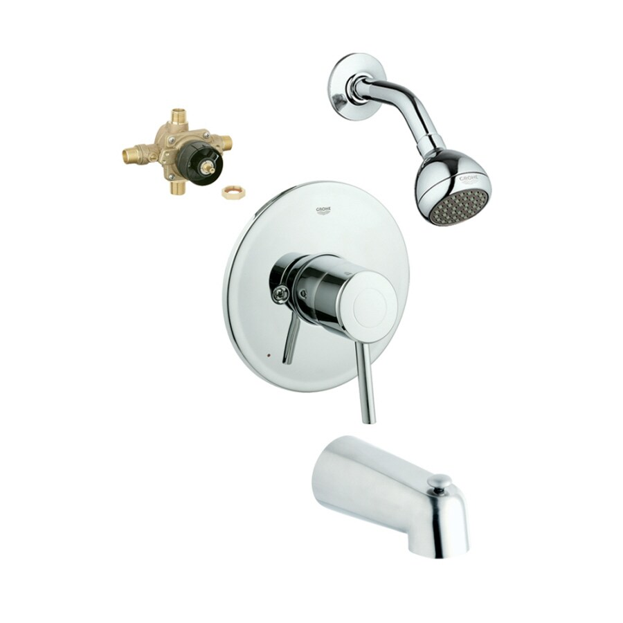GROHE Concetto Starlight Chrome 1-Handle Bathtub and Shower Faucet with Single Function Showerhead