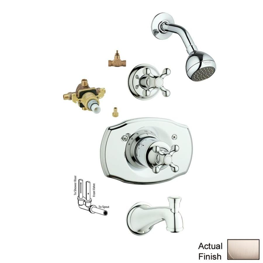 GROHE Seabury Brushed Nickel 1-Handle Bathtub and Shower Faucet with Single Function Showerhead
