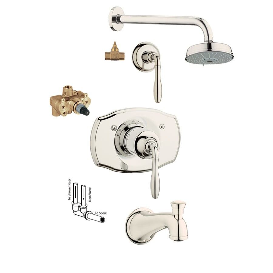 GROHE Seabury Polished Nickel 1-Handle Bathtub and Shower Faucet with Multi-Function Showerhead