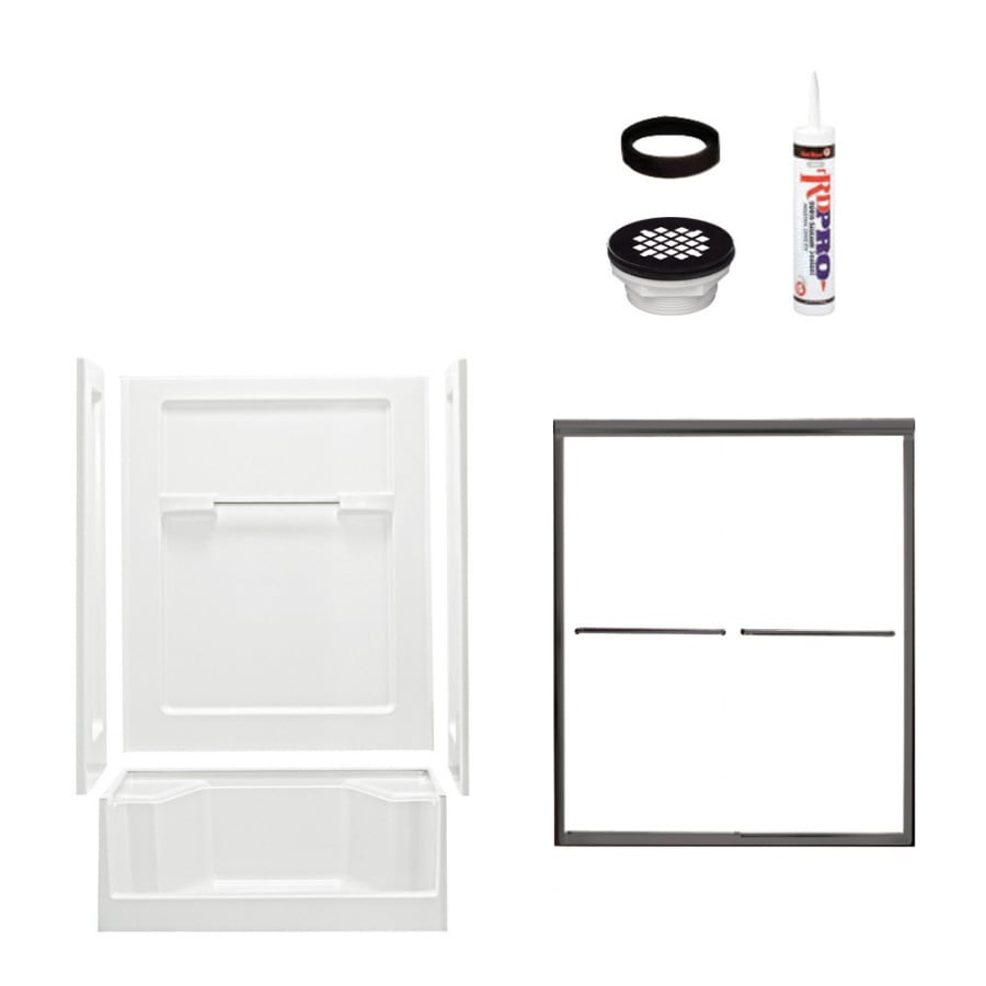 Sterling Advantage White Vikrell Wall and Floor 4-Piece Alcove Shower Kit (Common: 34-in x 48-in; Actual: 72-in x 34-in x 48-in)