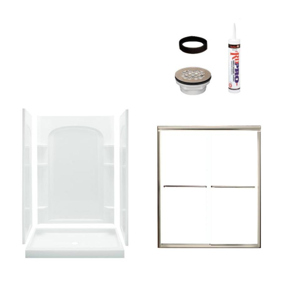 Sterling Ensemble White Vikrell Wall and Floor 4-Piece Alcove Shower Kit (Common: 34-in x 48-in; Actual: 75.75-in x 34-in x 48-in)