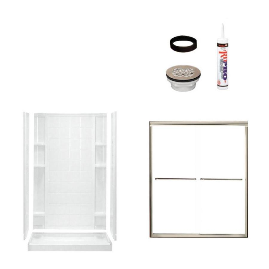 Sterling Ensemble White Vikrell Wall and Floor 4-Piece Alcove Shower Kit (Common: 34-in x 48-in; Actual: 77-in x 35.25-in x 48-in)