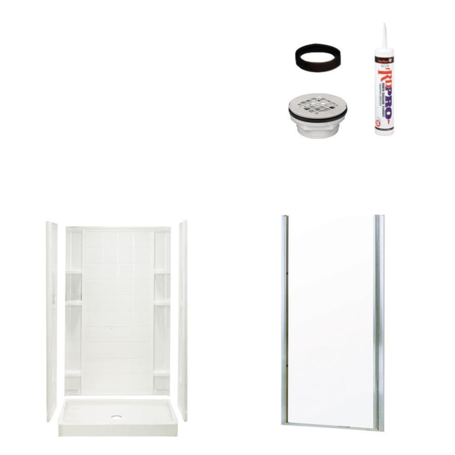 Sterling Ensemble White Vikrell Wall and Floor 4-Piece Alcove Shower Kit (Common: 34-in x 42-in; Actual: 75.75-in x 34-in x 42-in)