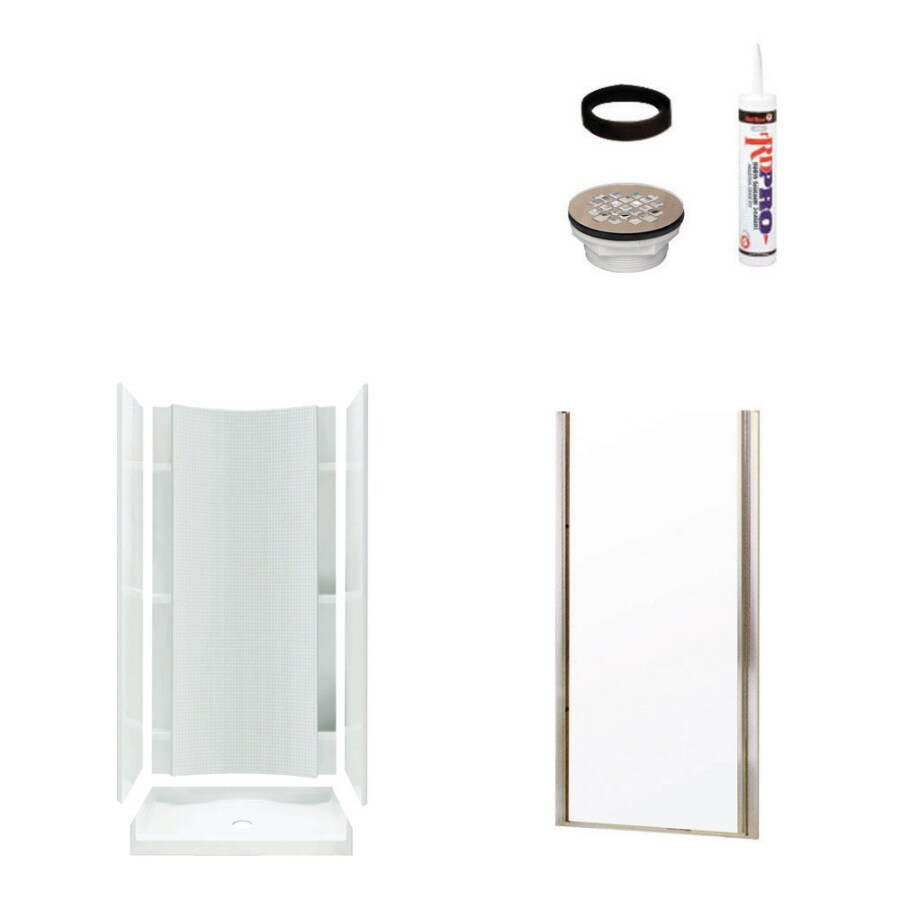 Sterling Accord White Vikrell Wall and Floor 4-Piece Alcove Shower Kit (Common: 36-in x 36-in; Actual: 77-in x 36-in x 36-in)