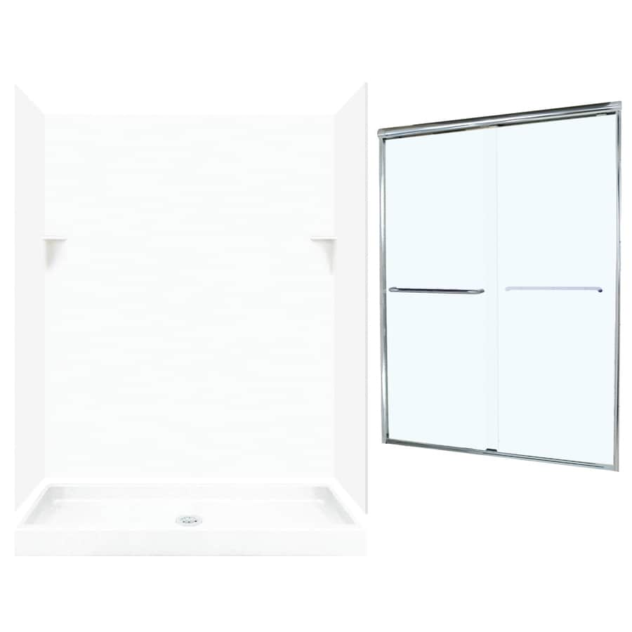 Swanstone White Solid Surface Wall and Floor 5-Piece Alcove Shower Kit (Common: 60-in x 34-in; Actual: 72-in x 59-in x 33.125-in)