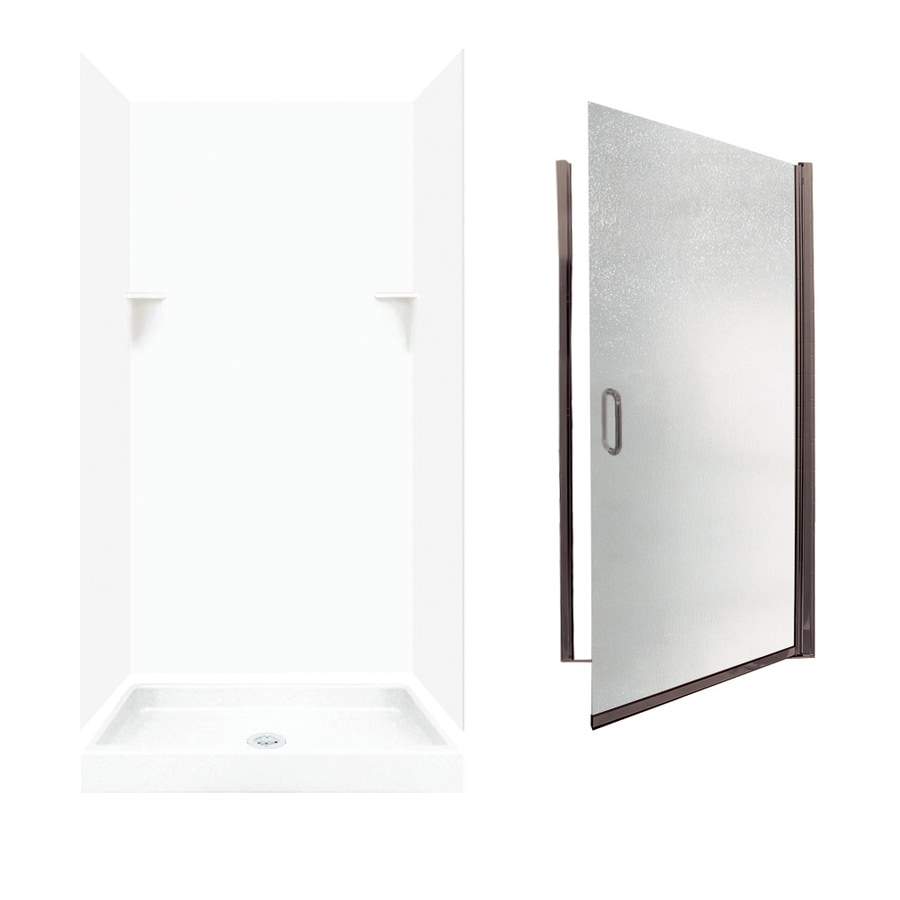 Swanstone White Solid Surface Wall and Floor 5-Piece Alcove Shower Kit (Common: 36-in x 36-in; Actual: 72-in x 35-in x 35.125-in)