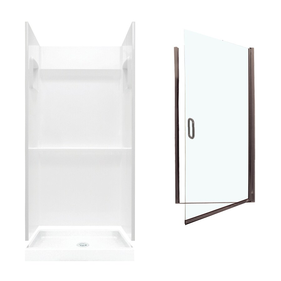 Swanstone Veritek White Fiberglass/Plastic Wall and Floor 3-Piece Alcove Shower Kit (Common: 32-in x 32-in; Actual: 73.25-in x 32-in x 32-in)