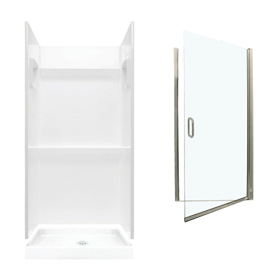 Swanstone Veritek White Fiberglass/Plastic Wall and Floor 3-Piece Alcove Shower Kit (Common: 36-in x 36-in; Actual: 73.25-in x 36-in x 36-in)