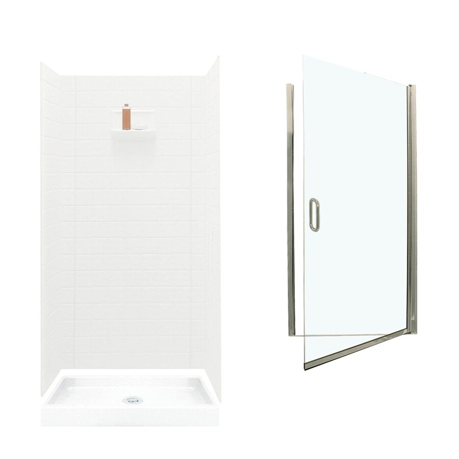 Swanstone Veritek White Fiberglass/Plastic Wall and Floor 5-Piece Alcove Shower Kit (Common: 36-in x 36-in; Actual: 71.625-in x 34.6875-in x 34.75-in)