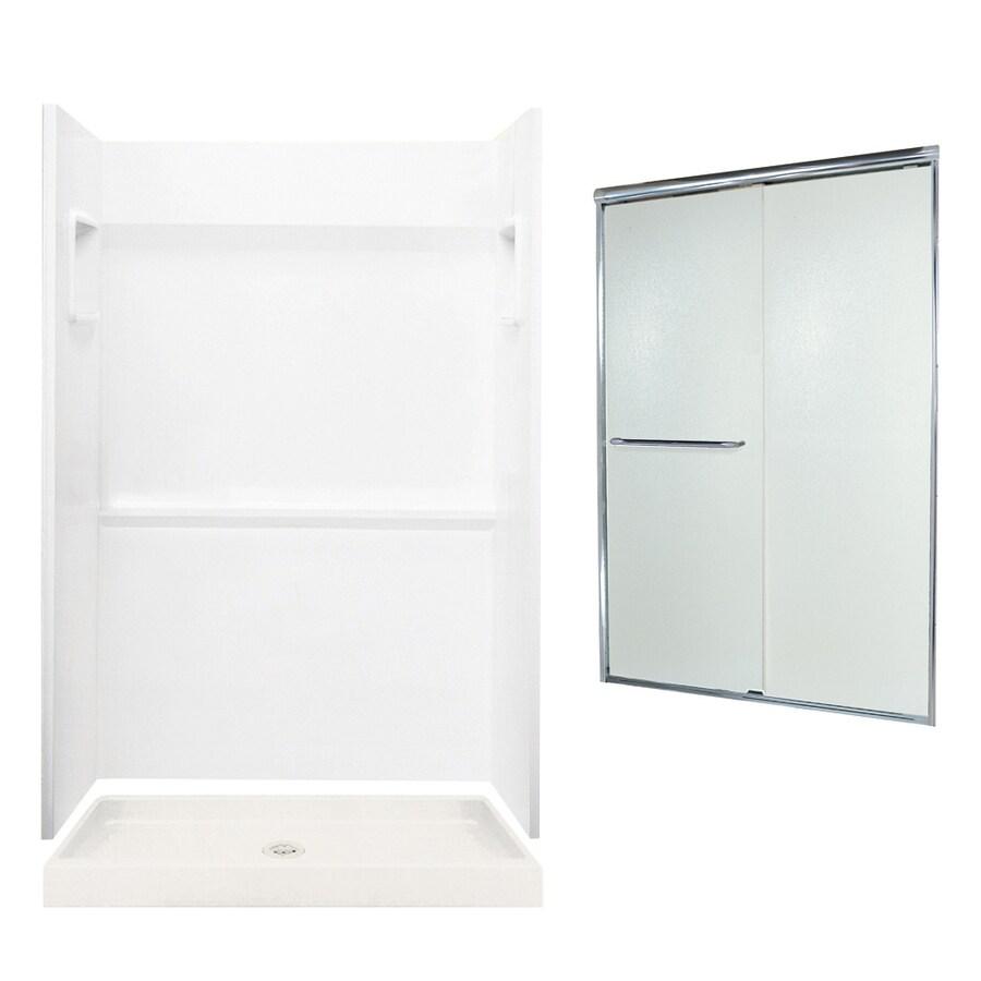Swanstone Veritek White Fiberglass/Plastic Wall and Floor 3-Piece Alcove Shower Kit (Common: 48-in x 34-in; Actual: 73.25-in x 48-in x 34-in)