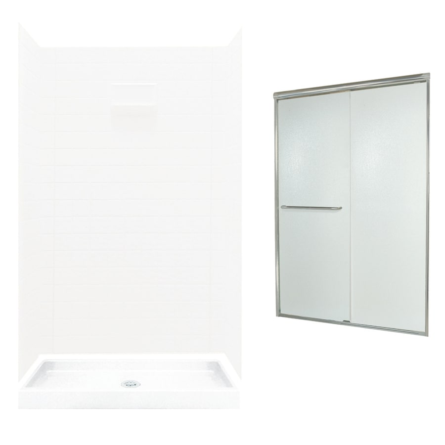 Swanstone Veritek White Fiberglass/Plastic Wall and Floor 5-Piece Alcove Shower Kit (Common: 48-in x 34-in; Actual: 71.625-in x 46.6875-in x 34.75-in)