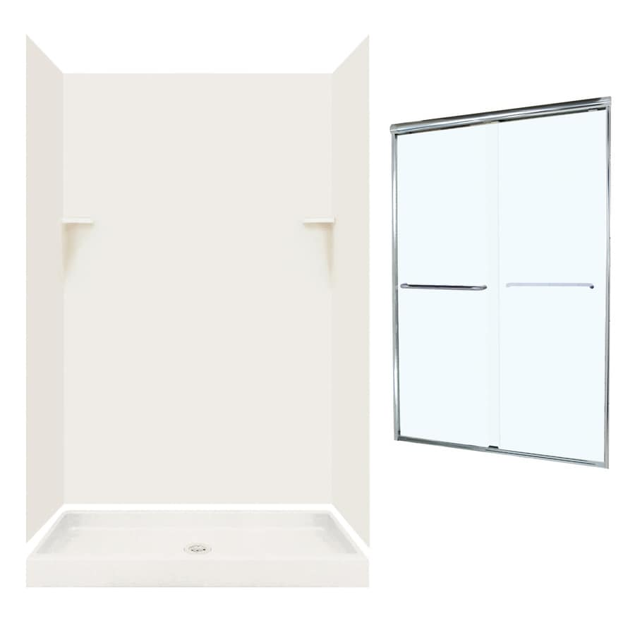 Swanstone Bisque Solid Surface Wall and Floor 5-Piece Alcove Shower Kit (Common: 48-in x 32-in; Actual: 72-in x 47-in x 31.125-in)