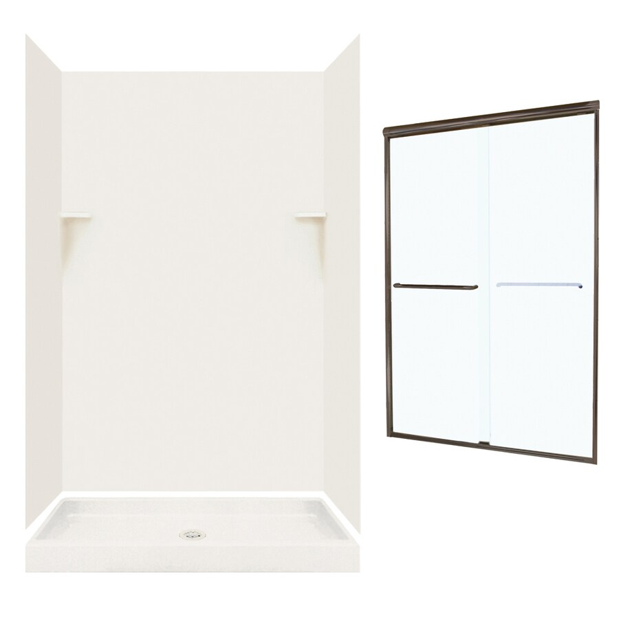 Swanstone Bisque Solid Surface Wall and Floor 5-Piece Alcove Shower Kit (Common: 48-in x 34-in; Actual: 72-in x 47-in x 33.125-in)