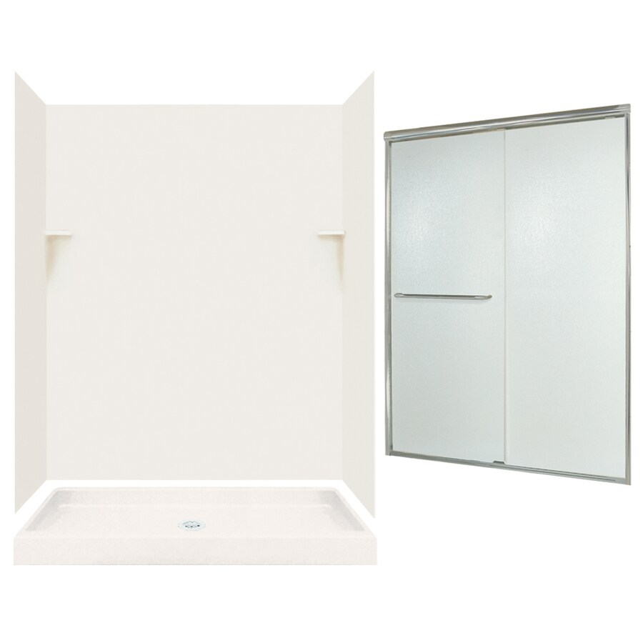 Swanstone Bisque Solid Surface Wall and Floor 5-Piece Alcove Shower Kit (Common: 60-in x 34-in; Actual: 72-in x 59-in x 33.125-in)